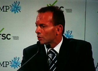 Tony Abbott in 2011 acting as superannuation's best friend (image from australianpolitics.com)