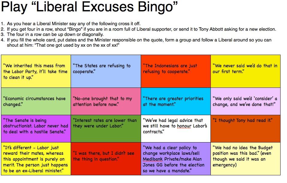 Liberal excuses bingo